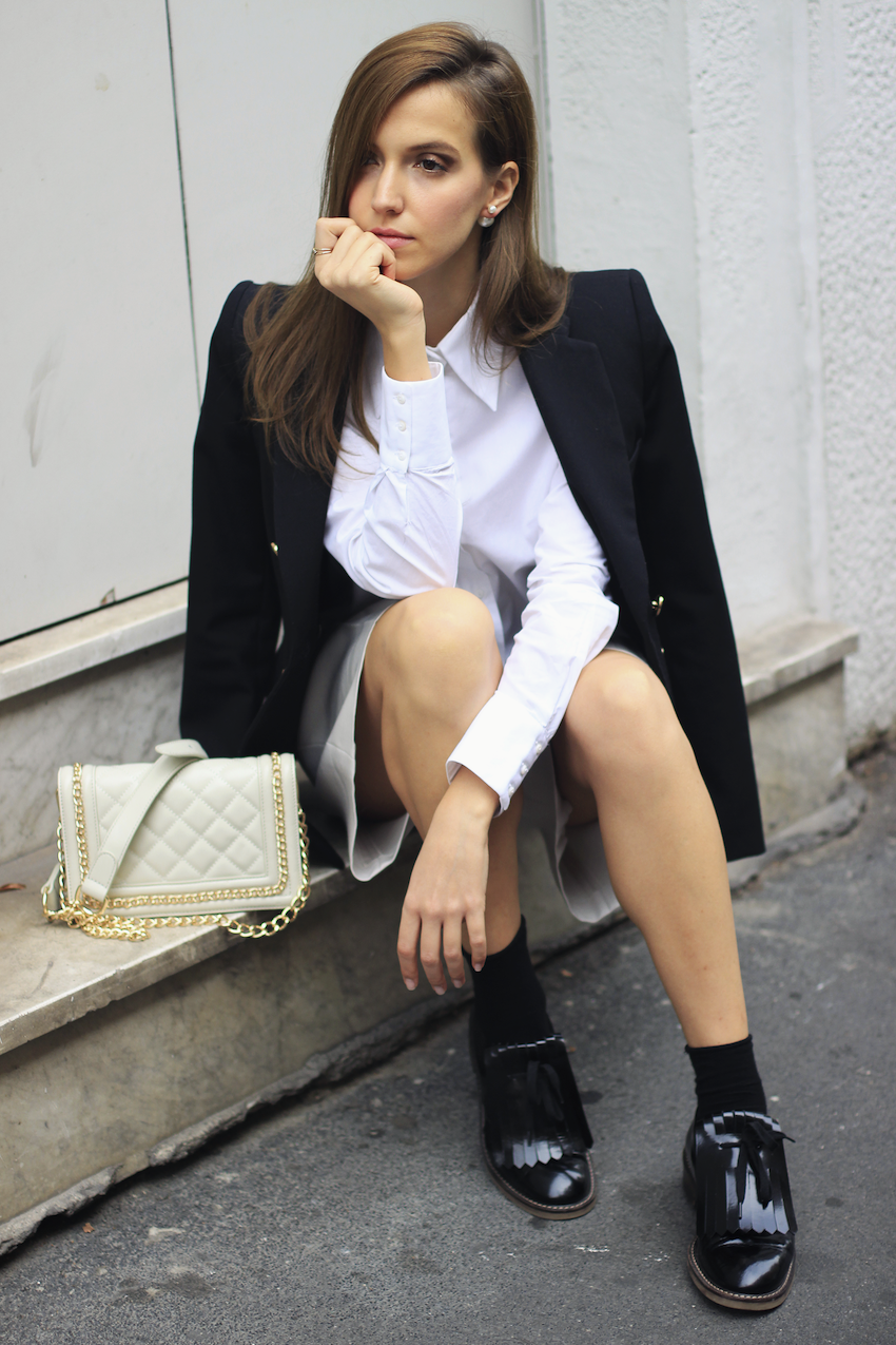 fashion blogger wearing giorgio armani