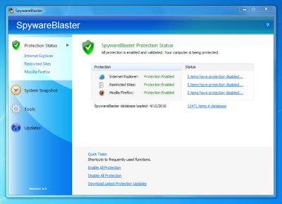 SpywareBlaster Prevent Spyware and Malware running from your PC