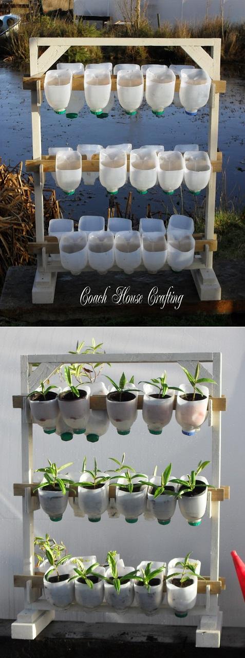 Vertical garden using plastic milk bottles for Garden design using plastic bottles