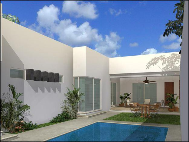Fachadas minimalistas fachada trasera de residencia for Casa minimalista con alberca
