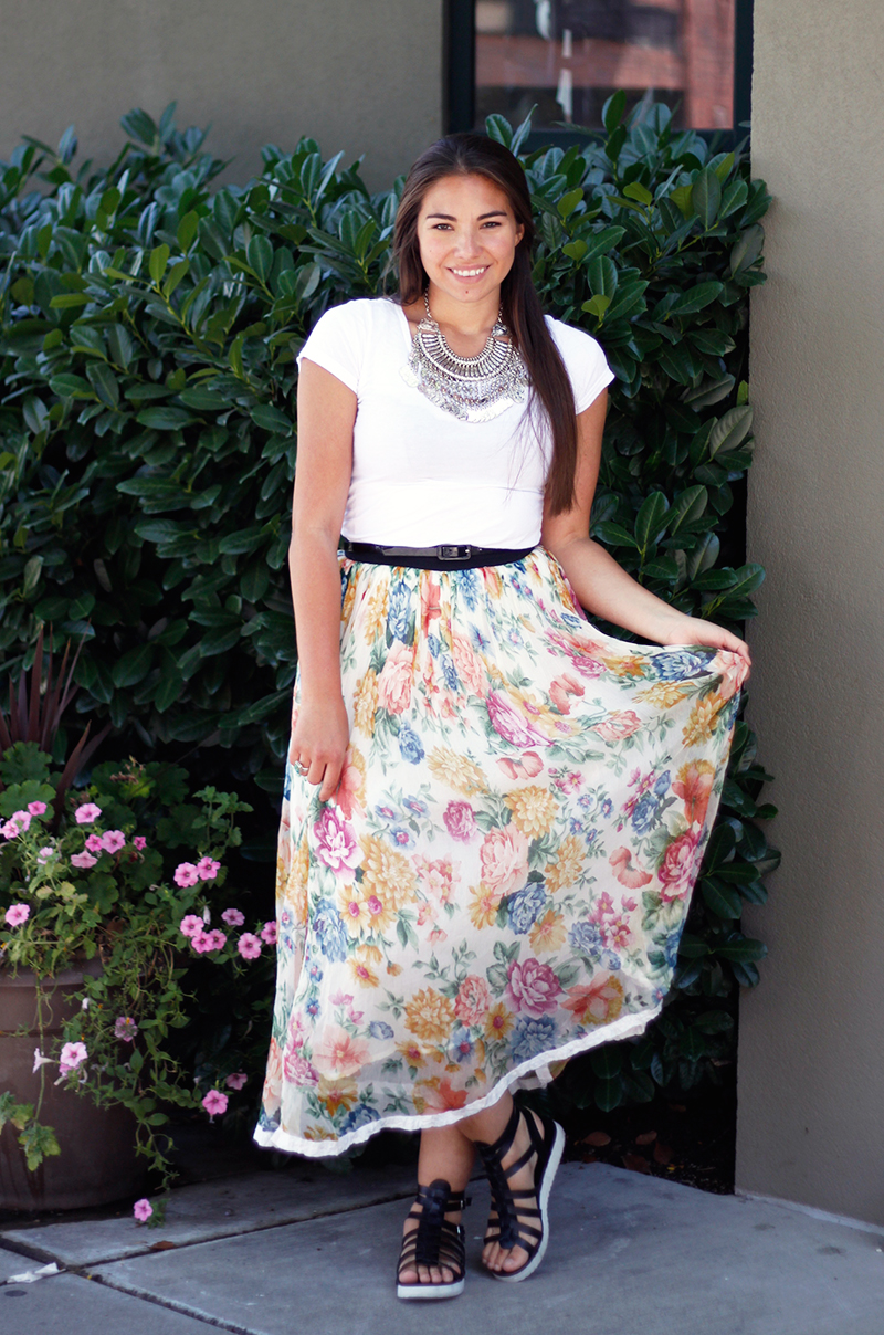 summer floral outfit with white tee