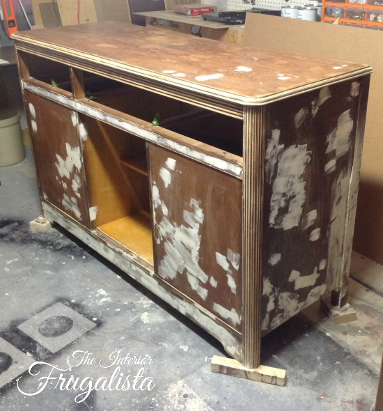 Prepping 1940s Art Deco Waterfall Buffet Sideboard For Paint