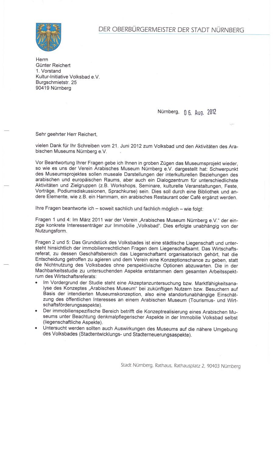Antwortschreiben vom 06.08.2012