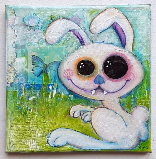 Carmen Wing - Mixed Media Grunge Pastel Bunny