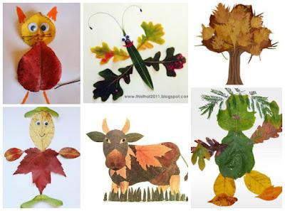 осенние поделки для детей из листьев