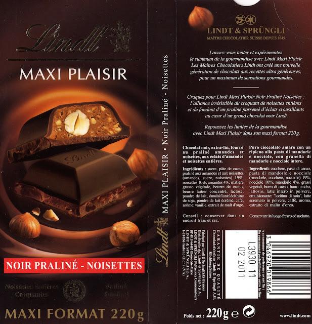 tablette de chocolat noir gourmand lindt maxi plaisir praliné noisettes
