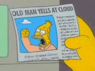 grandpa simpson yelling at cloud, oldman yells at cloud, simpsons funny pictures, the simpsons