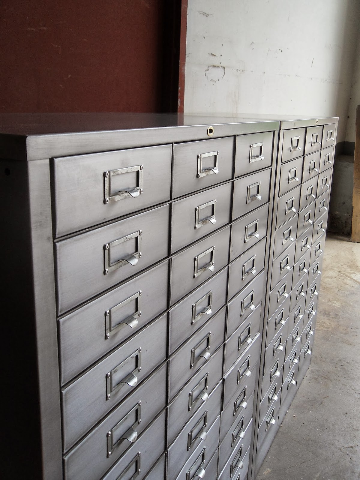 Pair Of 33 Drawer Form File Cabinets From Cole Steel. Stripped Steel Bodies  With A Satin Clear Coat. Jondcourt@gmail.com