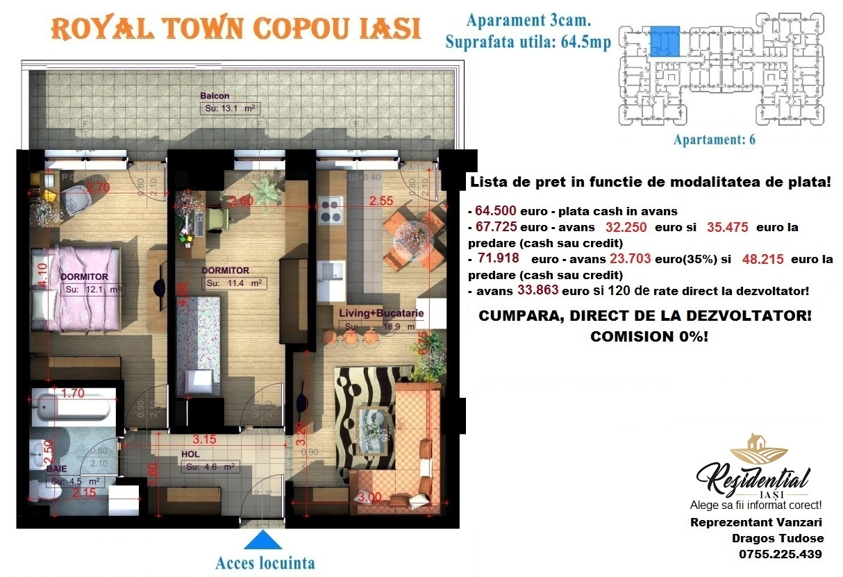 Apartament 3 camere - 64,5 mp