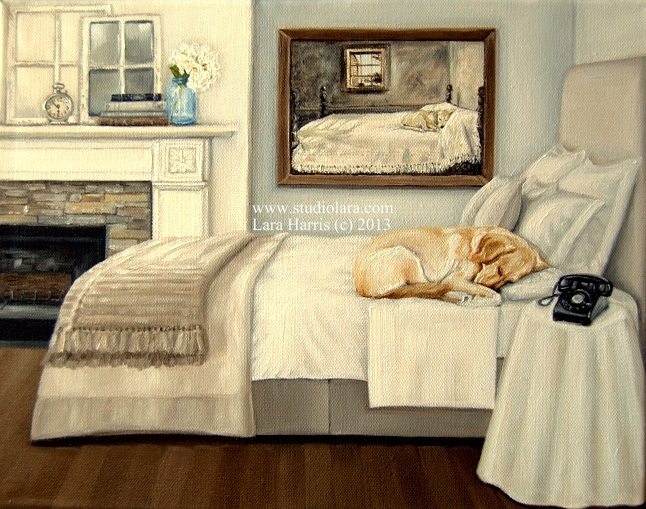 An adorable Lab asleep by Andrew Wyeth s Master Bedroom  Painting a Pup a  Day. Andrew Wyeth Lab Dog On Bed Bedroom