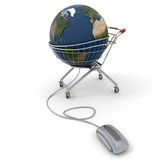 Global Ecommerce image of globe in a shopping cart