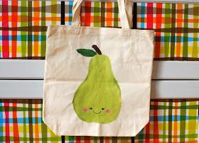freezer paper stenciled pear canvas bag design