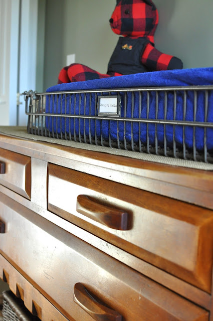 Outdoorsy, camping, boy scout nursery. Changing Table Organization