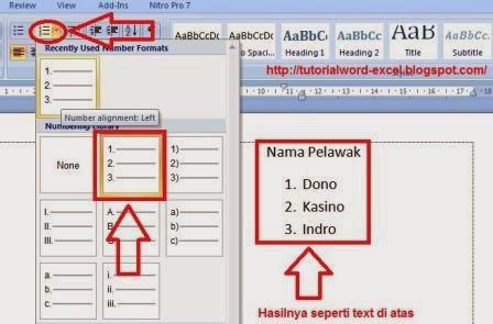 gambar Cara membuat List Bullets dan Numbering Di Microsoft Word