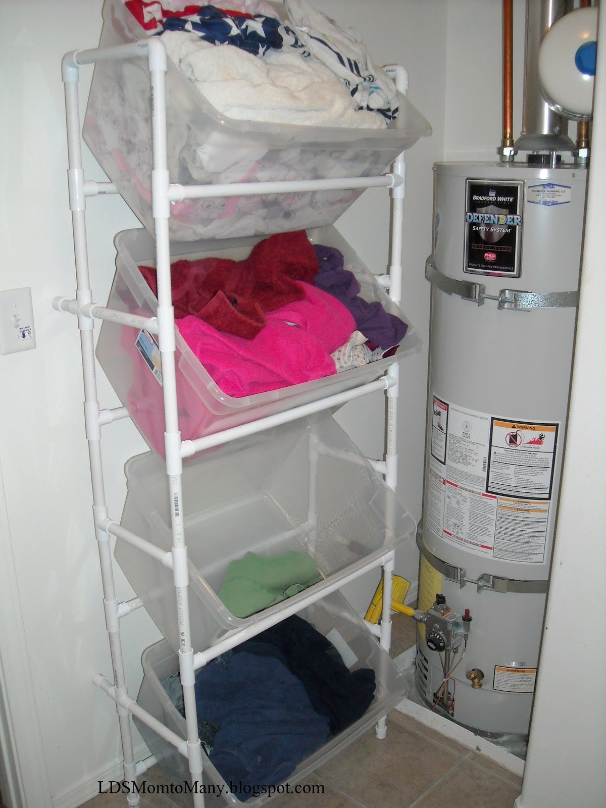 lds mom to many vertical pvc laundry sorter. Black Bedroom Furniture Sets. Home Design Ideas