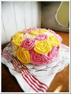 Colourful Buttercream Roses Cake