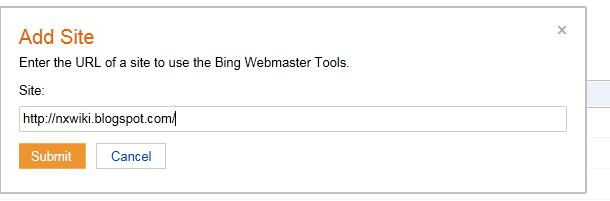 submit blogger website Bing Search Engine