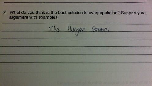 the best solution to overpopulation, the hunger games, movie, funny, win, funny picture