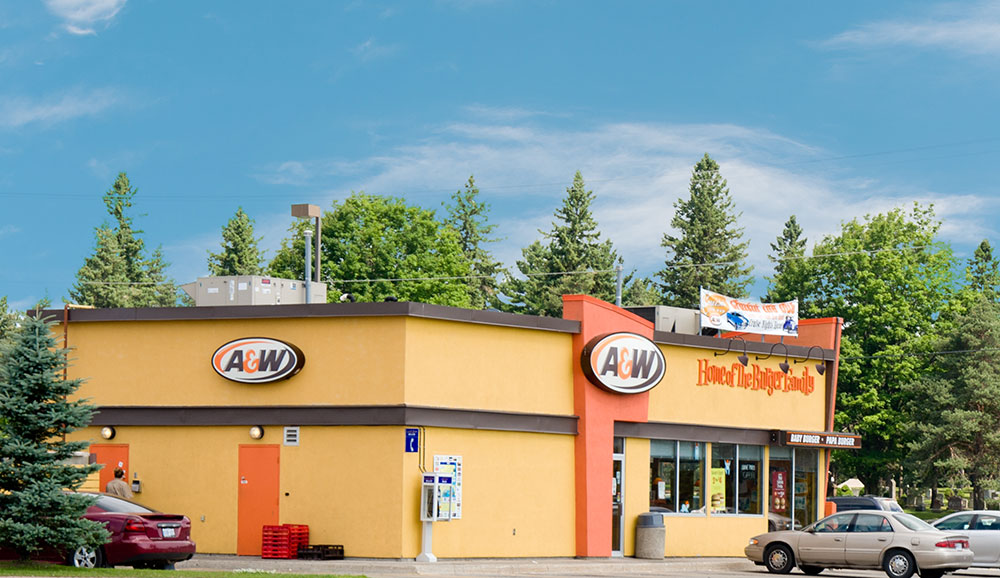 The A&W restaurant in the Westridge shopping area, Orillia, Ontario.