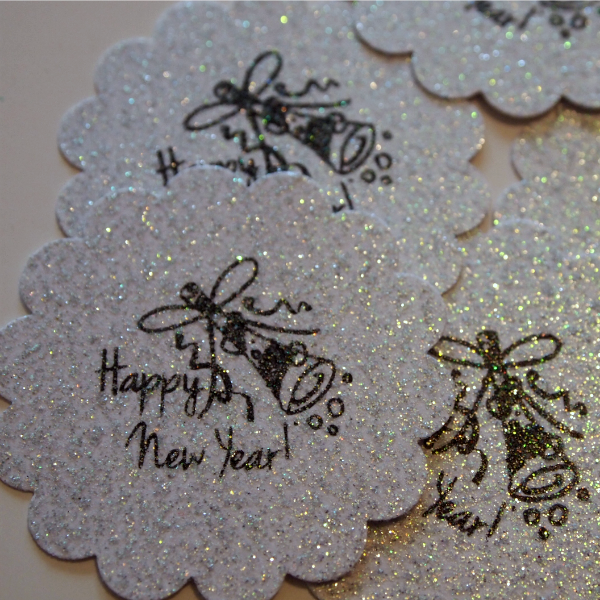 Happy New Year Stamped Glitter Paper Medallions