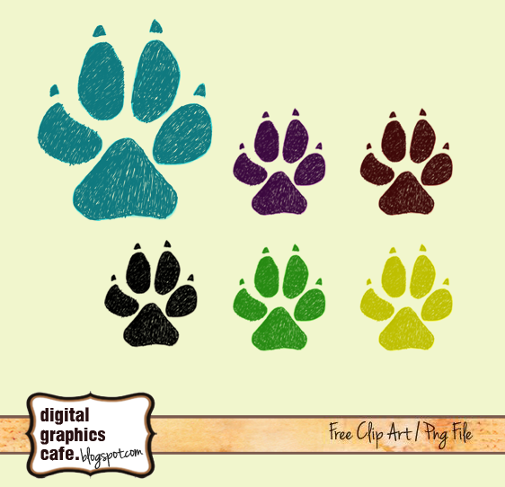 Free scrapbook dog paw clipart from Digital Graphics Cafe
