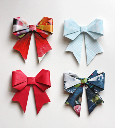 Bows From Paper Origami : クリスマス 包装紙 無料 : 無料
