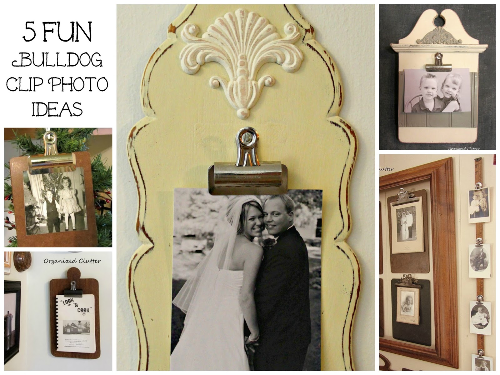 Photo Display Ideas with Thrift Shop Finds & Bulldog Clips www.organizedclutterqueen.blogspot.com