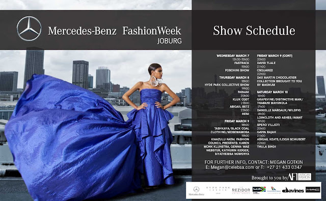 Mercedes benz fashion week joburg full schedule for Mercedes benz schedule a