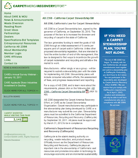 New CARE Webpage Devoted to California AB2398 Carpet Recycling Law