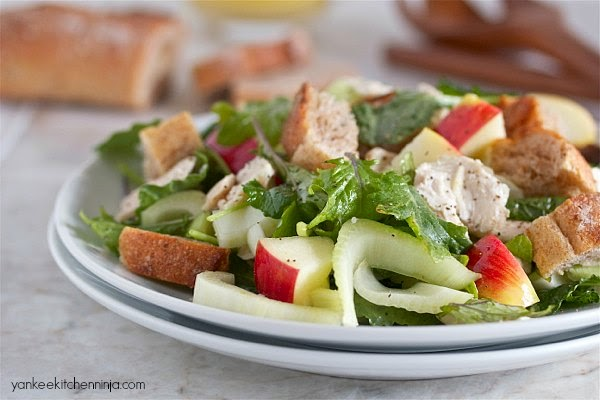 turkey, apple and fennel bread salad -- make with Thanksgiving leftovers or chicken
