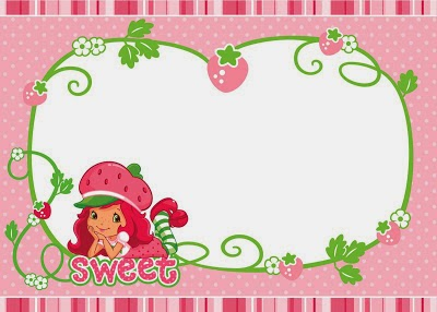 Strawberry Shortcake Free Printable Invitation, Card, Tag or Label.
