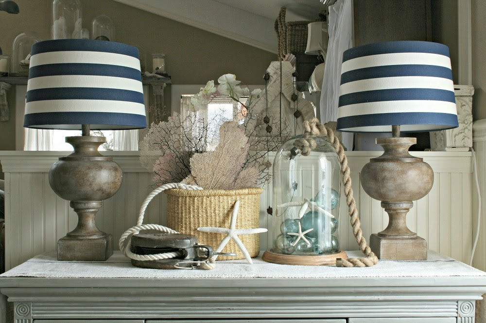 Striped navy and white lamp shades, striped lamp shades, seafan, elephant grass basket, pulley, jenwidner