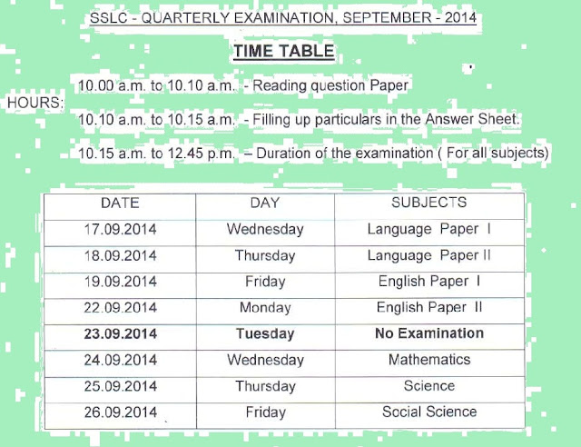 Questionbank4u sslc and plus two quarterly exam time for 8th board time table