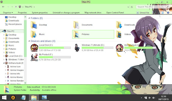 Shinoa  Owari no seraph (Theme windows 8) 3
