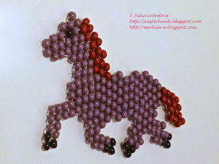 Horse beaded in brick stitch