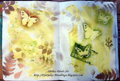 Art Journal pages with spray painted leaves