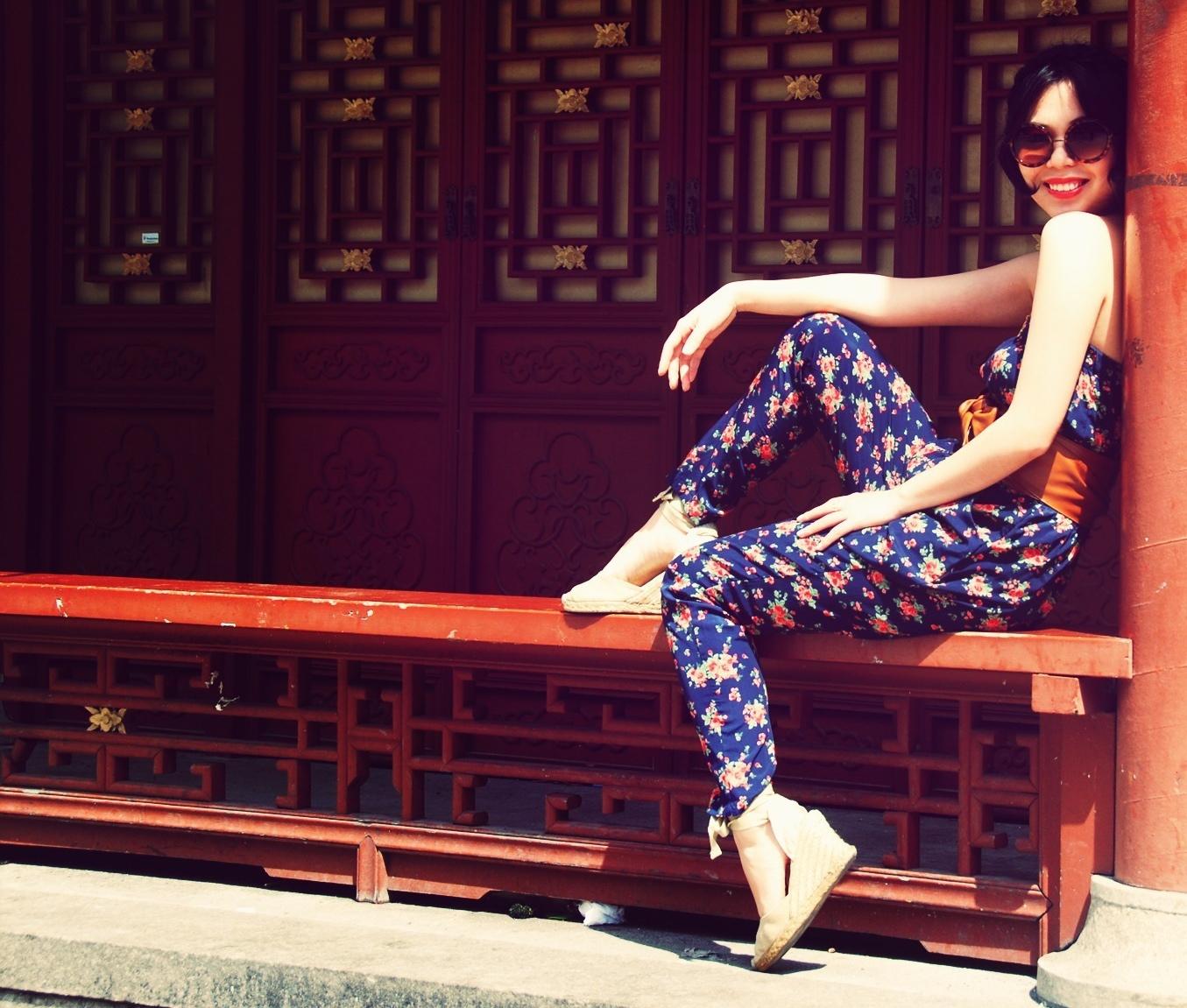 floral jumpsuit romper espadrilles round sunglasses