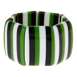 Green, Black & White Three Stripe Bracelet