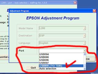 Tentukan port USb Epson T13x-nya