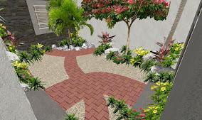 jardin pequeño playa del carmen diseño pasillo sendero adoquin rojo