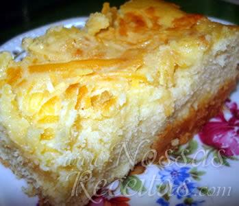 receita de um delicioso bolo preparado com queijo