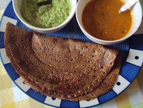101 alternative flours : ragi dosa and two quick chutneys | coconut curry patta chutney and tomato tamarind chutney