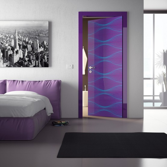 Picturesque and modern interior doors with cool colors for Contemporary interior colors