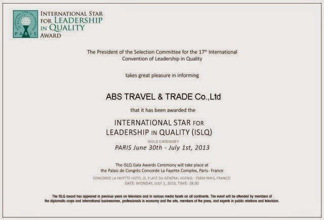 ABS TRAVEL - INTERNATIONAL STAR FOR LEADERSHIP IN QUALITY AWARD