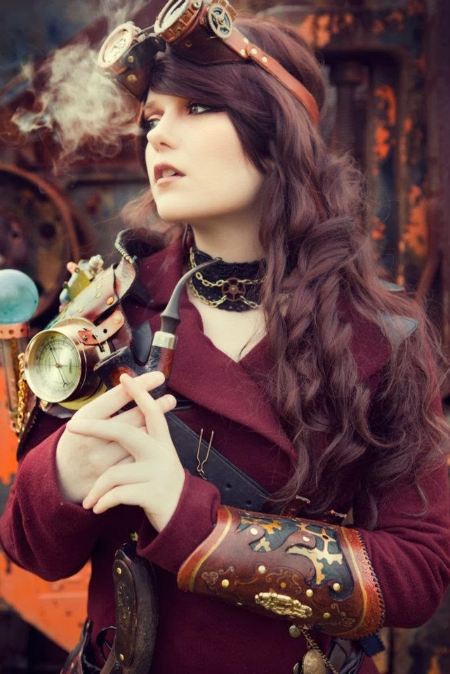 steampunk goggles choker jacket gauntlet