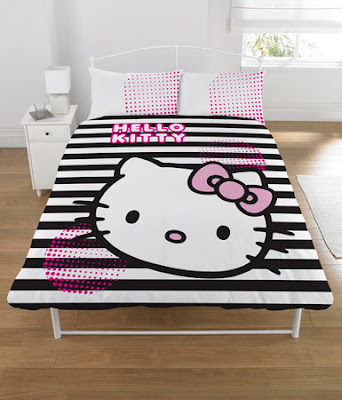 Hello Kitty stripey bed sheets and duvet cover