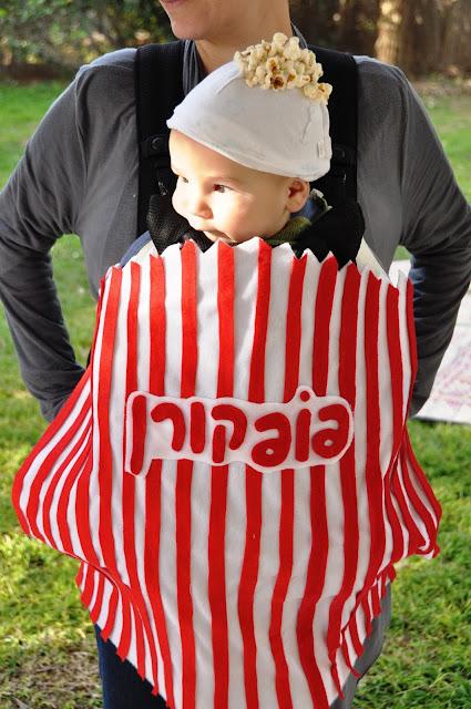תחפושת פופקורן לתינוק במנשא