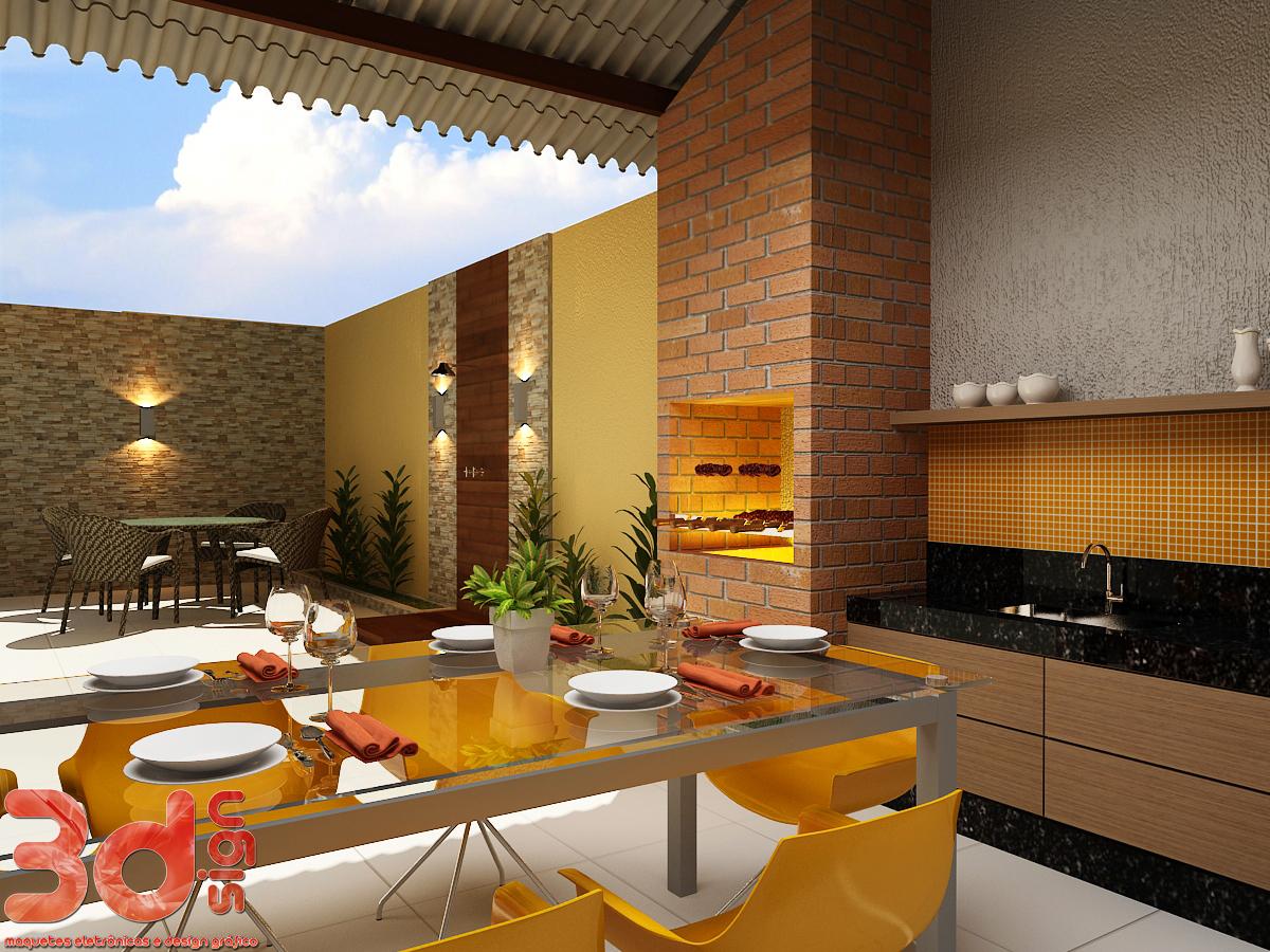 3dsign: Maquete cozinha área de lazer e banheiros #0C62BF 1200 900