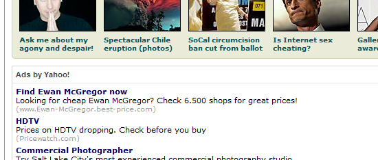 screen capture of an ad from sfgate.com, selling ewan mcgregor for cheap