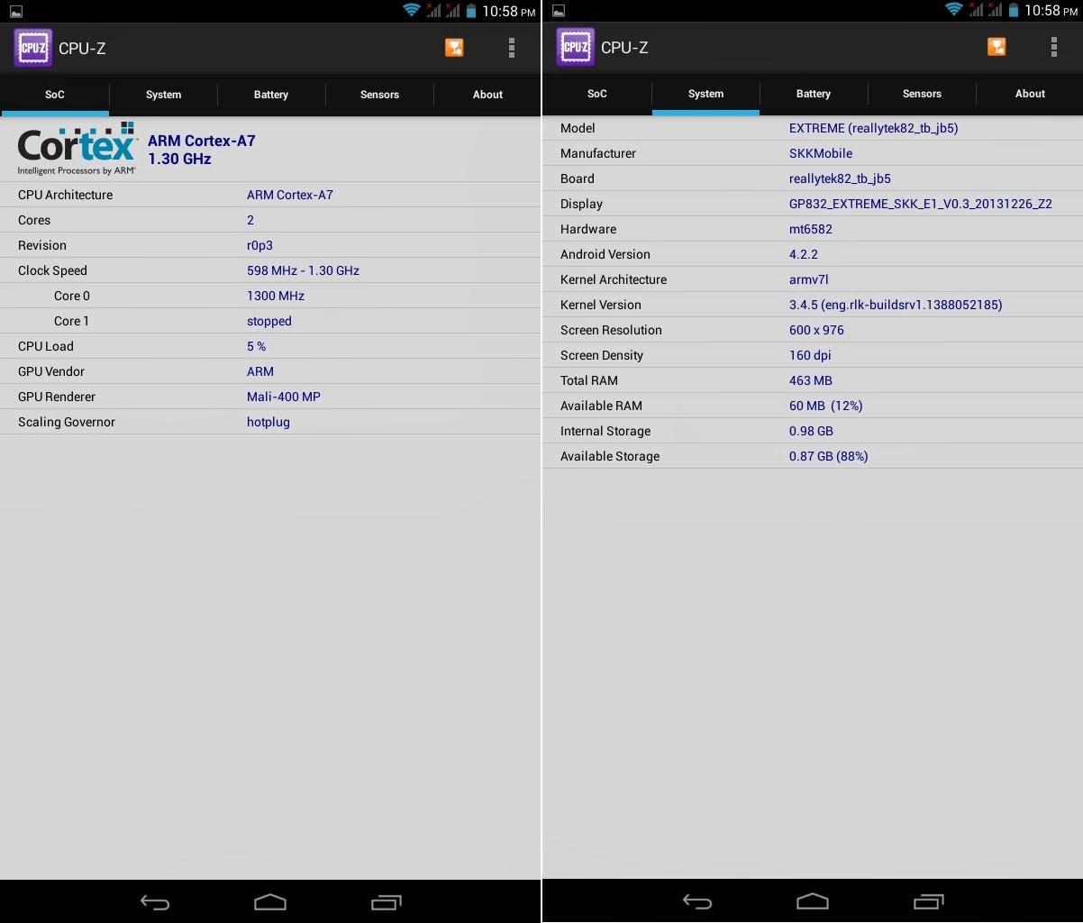 SKK Mobile Extreme CPU-Z Info